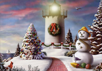 Red Path and Lighthouse (18 cards/18 envelopes) - Boxed Christmas Cards  INSIDE: May your Christmas be warm, bright and wonderful!