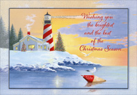 Lighthouse on Snow Covered Shore (18 cards/18 envelopes) Red Farm Studios Coastal Boxed Christmas Cards