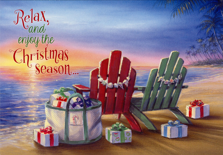 Beach Christmas Cards >> Adirondack Chairs And Gifts On Beach Box Of 18 Coastal Christmas