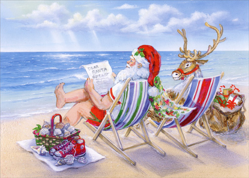 santa relaxing at the beach box of 18 warm weather christmas cards - Christmas At The Beach
