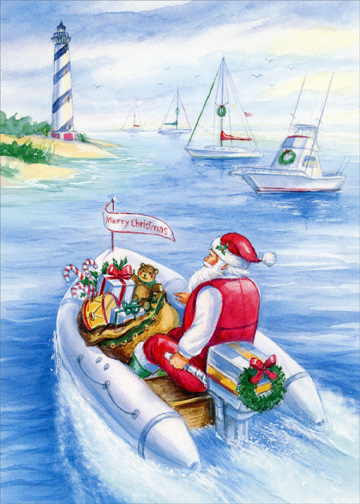 santa delivers gifts on speed boat box of 18 nautical christmas cards - Nautical Christmas Cards