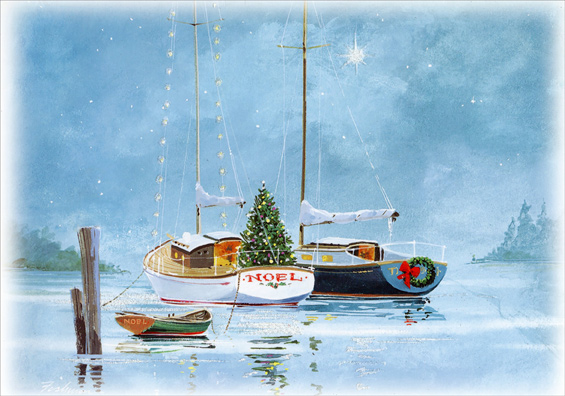 NOEL Sailboats at Twilight Box of 18 Nautical Christmas Cards by Red ...