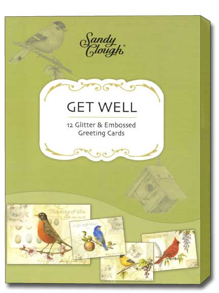 Song Birds (12 Get Well Cards with envelopes) Assorted Boxed Get Well Cards - FRONT: Various  INSIDE: Various