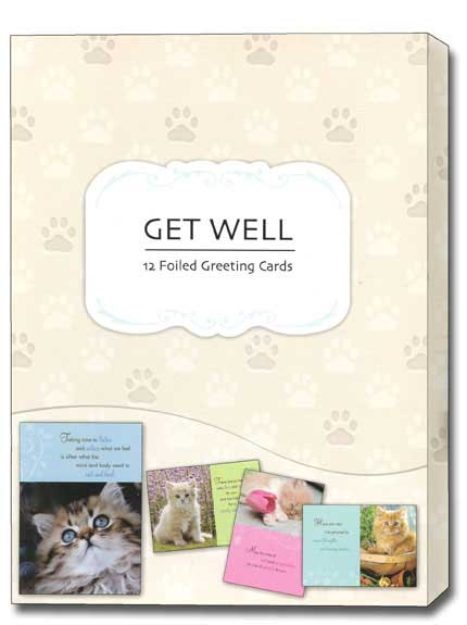 Curious Kittens (12 Get Well Cards with envelopes) Assorted Boxed Get Well Cards - FRONT: Various  INSIDE: Various