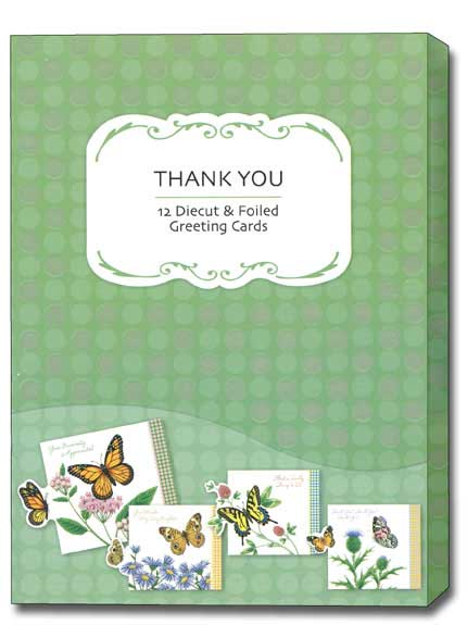 Petite Greetings (12 Thank You Cards with envelopes) Assorted Butterfly Boxed Thank You Cards - FRONT: Various  INSIDE: Various