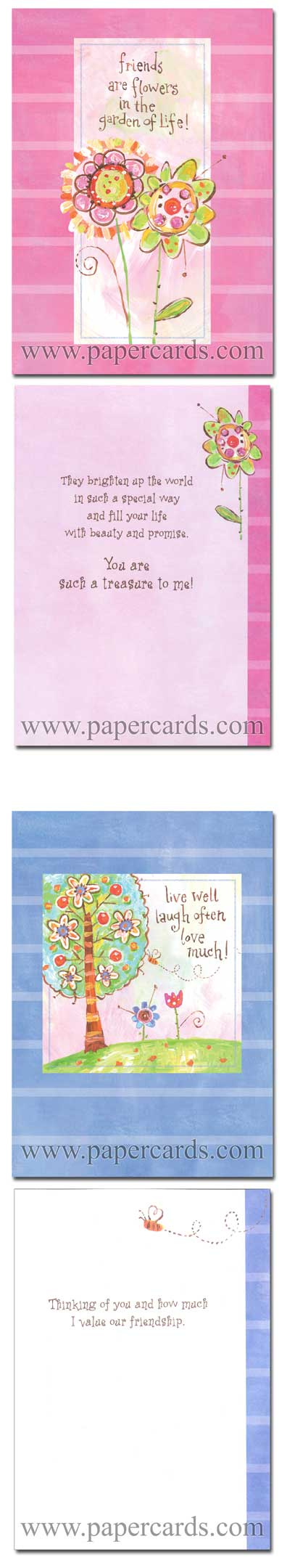 Friendship Garden (12 Friendship Cards with envelopes) Assorted Boxed Friendship Cards - FRONT: Various  INSIDE: Various