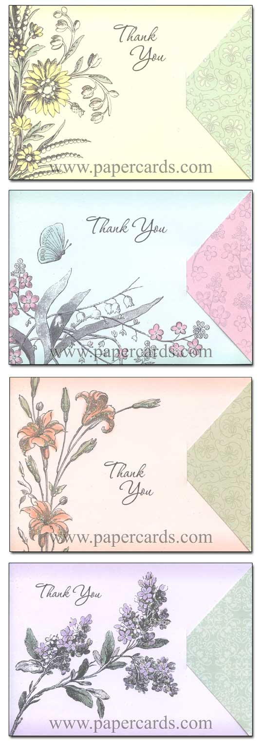 Whimsy (12 Thank You Cards with envelopes) Assorted Floral Boxed Thank You Cards - FRONT: Various  INSIDE: Various