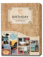 Wonderfully Vintage (12 Birthday Cards with envelopes) Assorted Boxed Birthday Cards