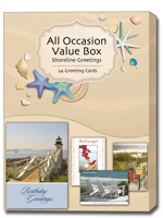 Shoreline Greetings All Occasion (24 Greeting Cards with envelopes) Assorted Boxed All Occasion Cards