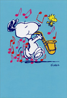 Snoopy Playing Sax (1 card/1 envelope) Sunrise Greetings Peanuts Blank Card