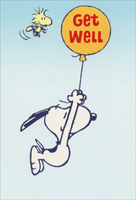Snoopy Hanging from Balloon (1 card/1 envelope) - Get Well Card - FRONT: Get Well  INSIDE: Hang in there. You'll feel better soon.