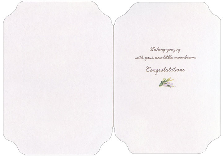 Baby Bunny Looking Out Window (1 card/1 envelope) Holly Pond Hill Die Cut New Baby Card - FRONT: No Text  INSIDE: Wishing you joy with your new little moonbeam. Congratulations