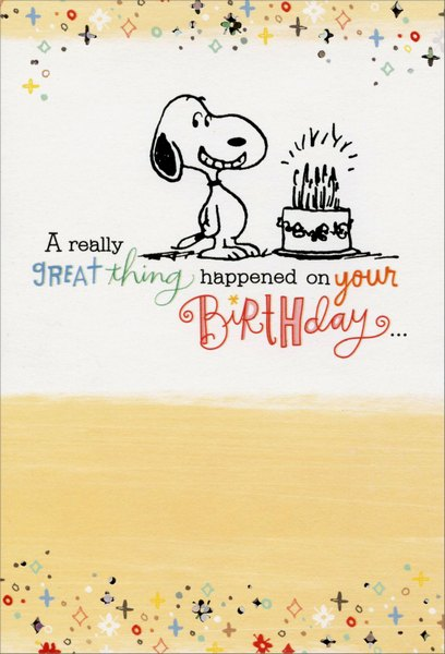 Snoopy Great Thing Happened Peanuts Birthday Card By Sunrise Greetings