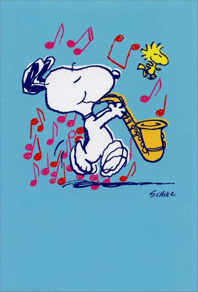 Snoopy Playing Sax Peanuts Blank Note Card By Sunrise Greetings