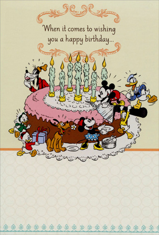 Mickey & Gang Cutting Cake (1 card/1 envelope) Sunrise Greetings Disney Birthday Card From Goup - FRONT: When it comes to wishing you a happy birthday�  INSIDE: �everyone wants to get in on the act!