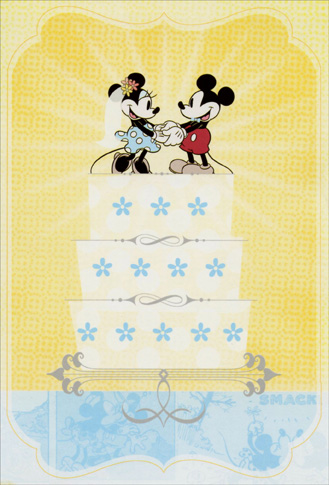 Mickey & Minnie on Wedding Cake (1 card/1 envelope) - Wedding Card  INSIDE: Happy Wedding Day