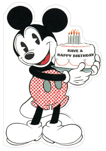 Mickey Mouse Holding Cake Diecut Disney Birthday Card by Sunrise