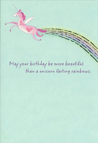 Funny Holiday Cards: Unicorn And Rainbow Funny / Humorous Birthday Card By