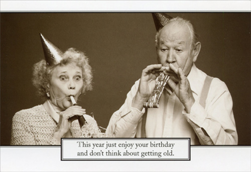 Elderly Couple With Noisemakers Funny Birthday Card