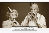 Elderly Couple With Noisemakers (1 card/1 envelope) Sunrise Greetings Funny Birthday Card