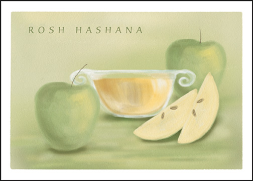 Apples & Slices (1 card/1 envelope) - Rosh Hashanah Card - FRONT: Rosh Hashana  INSIDE: L'Shanah Tovah to you - May the new year be sweet and good.