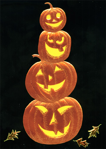 Foil & Embossed Pumpkin Stack (1 card/1 envelope) - Halloween Card - FRONT: No Text  INSIDE: Happy Halloween
