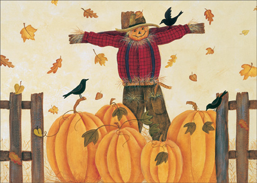 Scarecrow in Pumpkin Patch (1 card/1 envelope) Halloween Card - FRONT: No Text  INSIDE: Hope Halloween falls happily around you.
