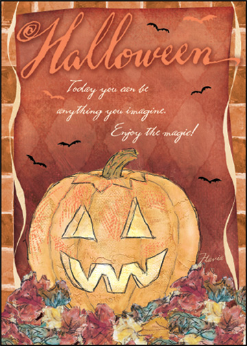 Pumpkin in Leaves (1 card/1 envelope) - Halloween Card - FRONT: Halloween  Today you can be anything you imagine. Enjoy the magic!  INSIDE: Happy Halloween
