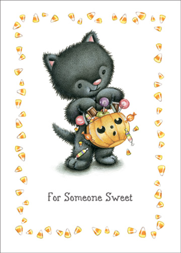 Cat with Pumpkin Bucket (1 card/1 envelope) Halloween Card - FRONT: For Someone Sweet  INSIDE: Hope your Halloween spills over with fun! XOXO