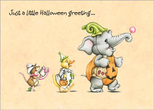 Trick or Treat Animal Parade (1 card/1 envelope) Halloween Card - FRONT: Just a little Halloween greeting…  INSIDE: ..wishing you Happy Trick-or-Treating!