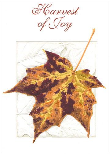 Foil Embossed Leaf (1 card/1 envelope) Thanksgiving Card - FRONT: Harvest of Joy  INSIDE: May the blessings of a Happy Thanksgiving be yours.