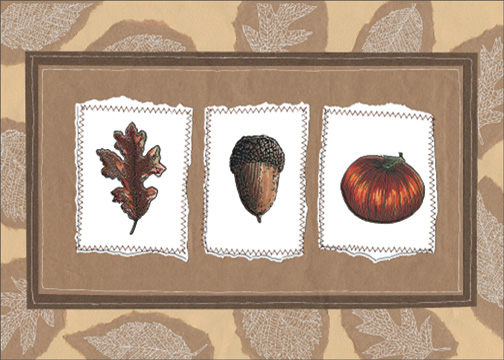 Leaf/Acorn/Pumpkin (1 card/1 envelope) - Thanksgiving Card - FRONT: No Text  INSIDE: Thinking of you at Thanksgiving