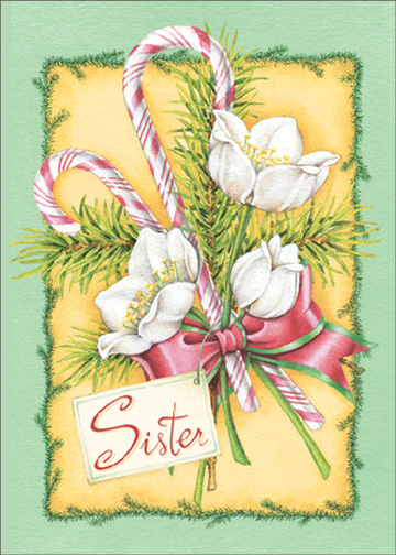 Bouquet of Candy (1 card/1 envelope) Christmas Card - FRONT: Sister  INSIDE: May everything good the season brings, be with you all year through. Merry Christmas
