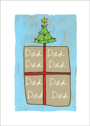 Present with Tree on Top (1 card/1 envelope) Christmas Card - FRONT: Dad  INSIDE: Your love is the best gift.