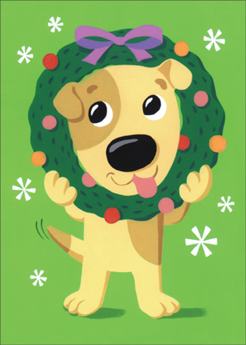 Dog with Face in Wreath (1 card/1 envelope) Christmas Card - FRONT: No Text  INSIDE: Hope this holiday season finds you right in the middle of all the fun! Merry Christmas