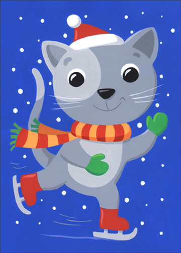 Cat Ice Skating (1 card/1 envelope) Christmas Card - FRONT: No Text  INSIDE: Hope your holidays are a fabulous flurry of fun! Merry Christmas