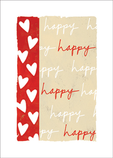 Happy Text with Hearts (1 card/1 envelope) New Year's Card - FRONT: happy  happy  happy  INSIDE: you put the happy in Happy New Year. I love you
