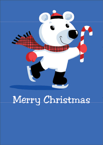Polar Bear Ice Skating (1 card/1 envelope) Christmas Card - FRONT: Merry Christmas  INSIDE: Just gliding by to wish a sweet little someone a warm and happy holiday.