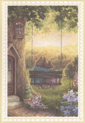 Bunnies on Swing (1 card/1 envelope) Holly Pond Hill Anniversary Card - FRONT: No Text  INSIDE: Your marriage is a true inspiration. Happy Anniversary