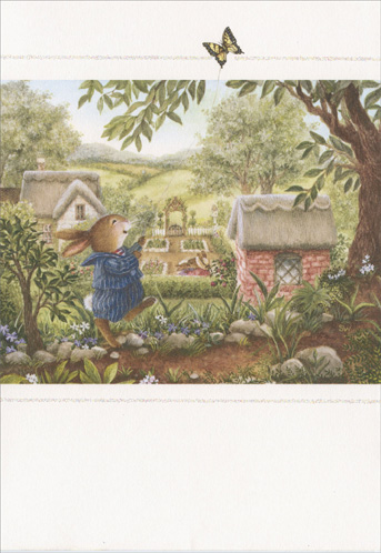 Bunny Chasing Butterfly (1 card/1 envelope) Holly Pond Hill Encouragement Card - FRONT: No Text  INSIDE: Here's a little lift to let you know you're loved. If you saw Oliver flying his butterfly kite you'd never know he lost the Box Turtle Derbey. But Ollie, I told him, I thought you'd be devastated. He shurgged his shoulders. Oh, I was, Mom. I was! But then on the way home I was looking at the puffy white clouds and they looked like whipped cream on strawberry shortcake. I gave him a sharp look. And did you happen to find any strawberry shortcake when you got home? Oh, said he, was that your strawberry shortcake? Well, Mom..See what a fine mood I'm in?