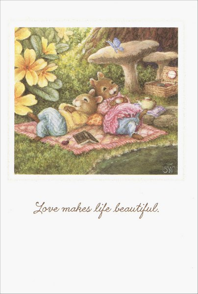 Relax on Blanket (1 card/1 envelope) Holly Pond Hill Birthday Card - FRONT: Love makes life beautiful  INSIDE: Happy Birthday with all my heart