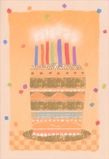 Orange Birthday Cake (1 card/1 envelope) Sunrise Greetings Birthday Card  INSIDE: From all of us, we'd like to say hope you have a great birthday!