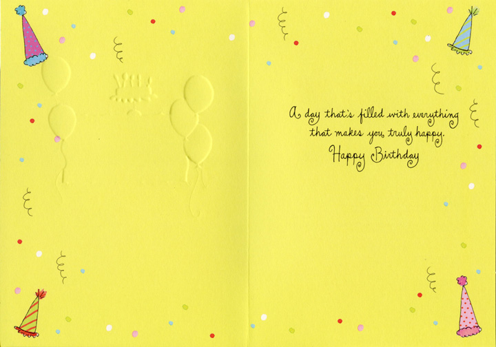 Colorful Dots & Balloons (1 card/1 envelope) Sunrise Greetings Birthday Card - FRONT: Our wish for you  INSIDE: A day that's filled with everything that makes you truly happy.  Happy Birthday