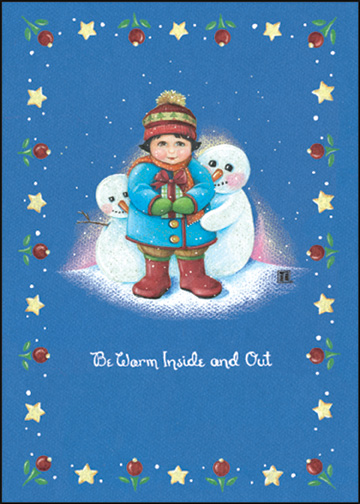 Simply Snow Trio (1 card/1 envelope) - Holiday Card - FRONT: Be Warm Inside and Out  INSIDE: May happiness and love surround you as you celebrate the holidays.
