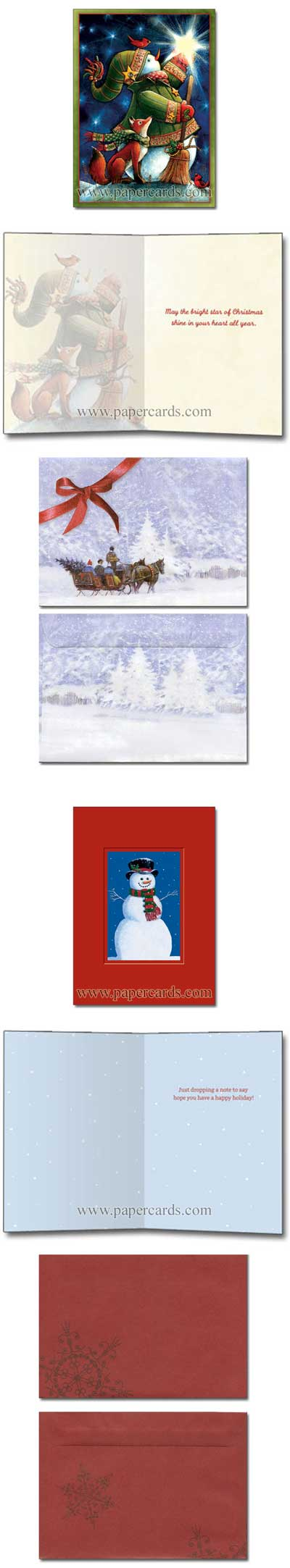Snowmen & Friends (24 cards/24 envelopes) Tree-Free Greetings Boxed Christmas Cards