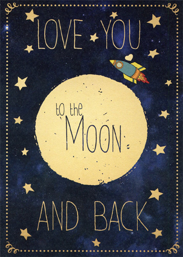 Moon And Back Romantic Birthday Card By Tree Free Greetings