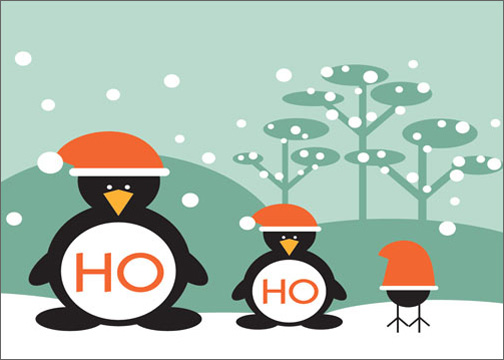 Ho Ho Ho Penguins (1 card/1 envelope) Tree-Free Greetings Christmas Card - FRONT: Ho Ho  INSIDE: Ho