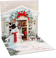 Holiday Door  (1 card/1 envelope) - Christmas Card  INSIDE: Season's Greetings