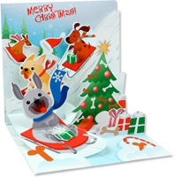 Sledding Dogs  (1 card/1 envelope) - Christmas Card  INSIDE: Merry Christmas!