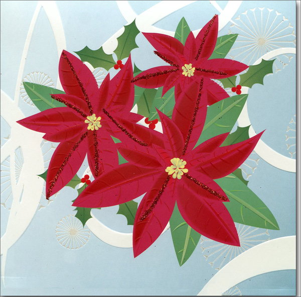 Poinsettia  (1 card/1 envelope) - Christmas Card